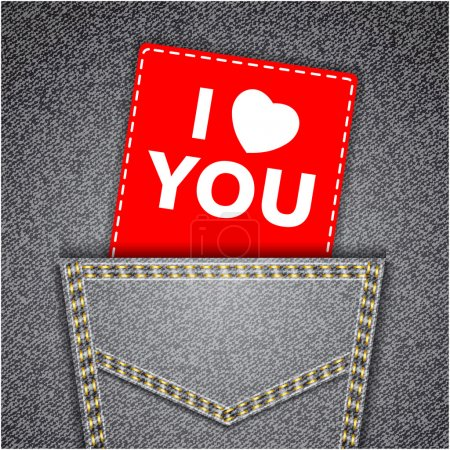 I love you card. Black back jeans pocket realistic denim texture