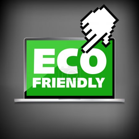 Eco friendly word on High-quality laptop screen. Think Green. Ec
