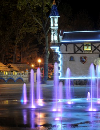 Colored water fountain at night. Ukraine. Kharkov....