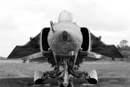 Mig-27. Black and white photo.