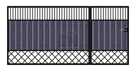 Illustration for Iron gate with door. Vector EPS10. Isolated on white background. - Royalty Free Image