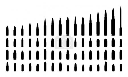 Various types ammunition silhouettes. Isolated on white background. Vector EPS10.