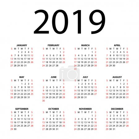 Calendar for 2019 on white background. Vector EPS10.