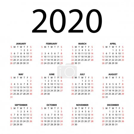 Calendar for 2020 on white background. Vector EPS10.
