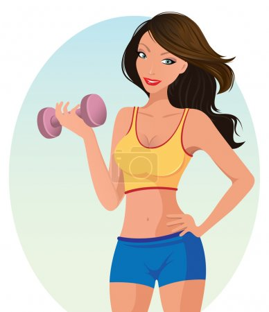 Cute girl exercising