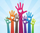 Vector illustration of a beautiful charity concept with human hands giving support
