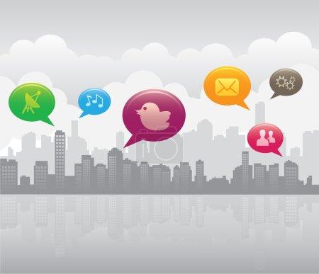 Illustration pour Illustration vecteur de communication sur les réseaux sociaux autour de la ville - image libre de droit