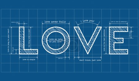 Illustration for Abstract love blueprint with love quotes - Royalty Free Image