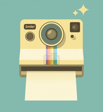 Vintage photo camera Smile. Retro style vector illustration. With copy space for your text
