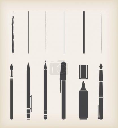 Illustration for Vector Pen, pencil, marker, brush - Royalty Free Image