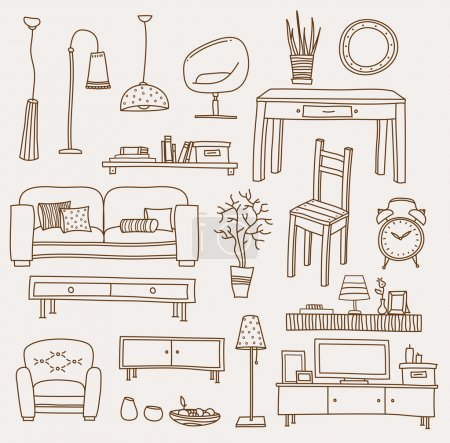 Illustration pour Ensemble d'icônes vectorielles pour salon - image libre de droit