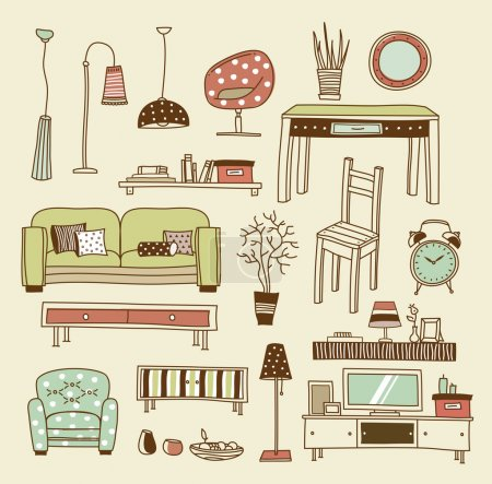 Illustration for Set of vector icons for living room - Royalty Free Image