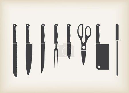 Illustration pour Icônes vectorielles de couteau de cuisine ensemble stylisé - image libre de droit