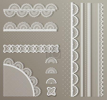 Illustration pour Vecteur mignon très détaillé Ensemble de dentelle droite - image libre de droit
