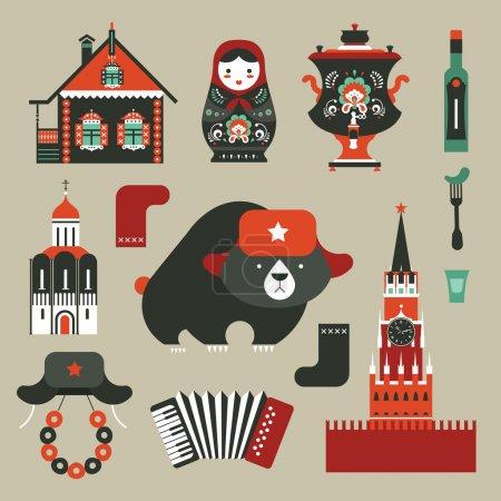 Photo pour Ensemble vectoriel de diverses icônes russes stylisées - image libre de droit