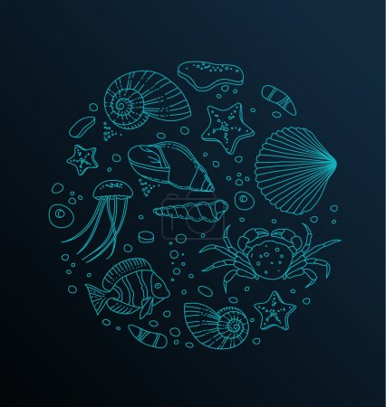 Vector stylish high quiallity Sea collection icons...