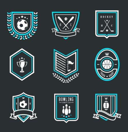 Illustration for Vector set of nine modern sport emblems - Royalty Free Image