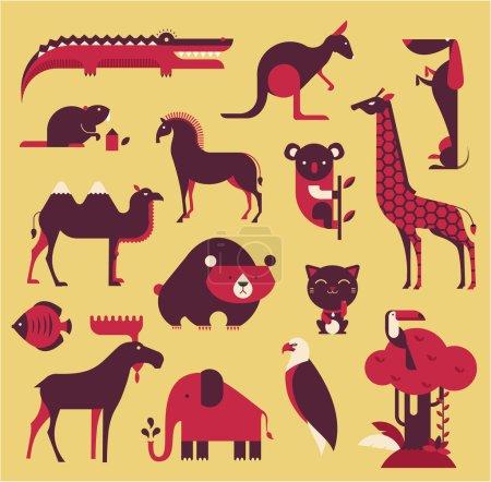 Illustration pour Ensemble animaux vectoriels - image libre de droit