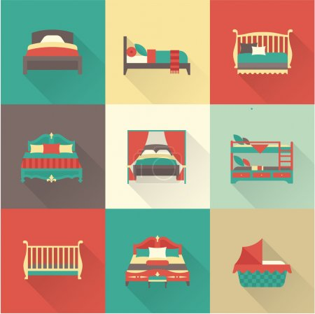 Illustration for Vector flat bed icon set simple style - Royalty Free Image