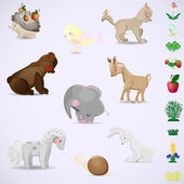 Set of animal and plant species of 18 items