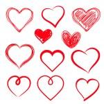 Vector hearts set. Hand drawn....