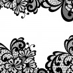 Vector ornament. Black lace corner....
