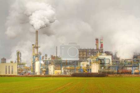 Photo for Industrial pollution in Roussillon, near Lyon, France. - Royalty Free Image