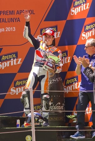 Marc Marquez in the podium