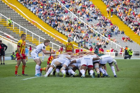 Rugby scrum action