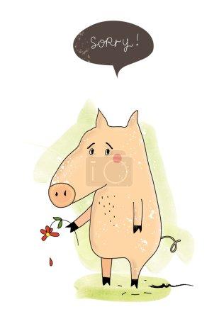 Photo pour Carte postale mignonne avec un cochon - image libre de droit