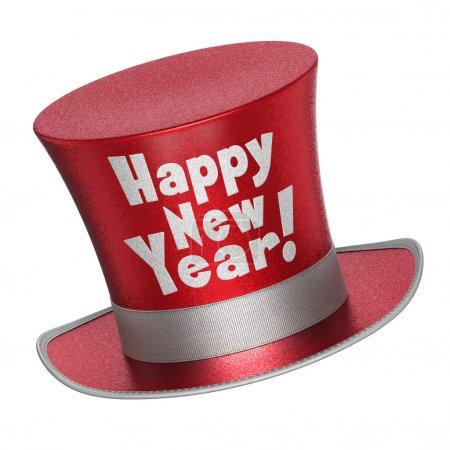 Foto de Copos de render 3D de un sombrero rojo ¡ feliz año nuevo con metálico brillante estilo superficial - aislados en fondo blanco - Imagen libre de derechos
