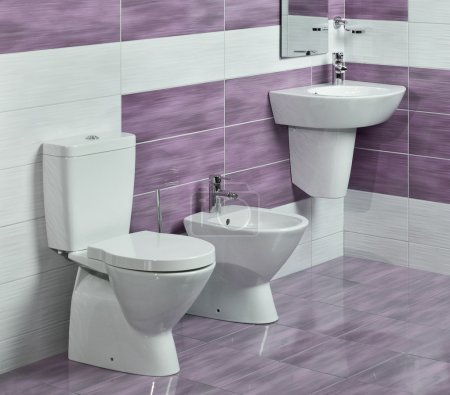 detail of modern bathroom with sink, toilet and bidet