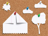 Vector illustration of corkboard with pinned children's work of paper landscape made of pages torn from exercise book in cage cut and folded in shapes of a house a tree clouds with sun