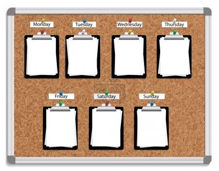 Illustration pour Illustration vectorielle de visages avec épinglés planchettes à pince, avec des feuilles blanches de papier pour chaque jour de la semaine. - image libre de droit