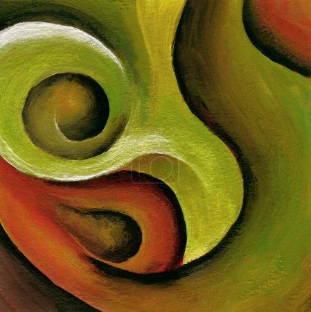 Photo pour Une peinture abstraite en acrylique rouge et vert tourbillonnant . - image libre de droit