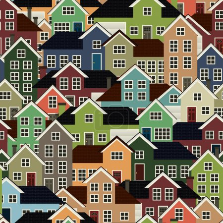 Illustration for A seamlessly repeatable background depicting a crowded residential neighborhood. - Royalty Free Image