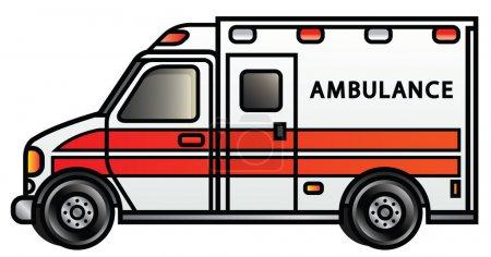 Illustration for Illustration of a cartoon ambulance. - Royalty Free Image