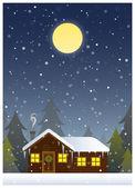 Christmas Card Cabin Scene