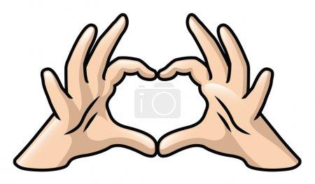 Illustration pour Illustration d'une paire de mains de dessin animé formant un coeur. - image libre de droit