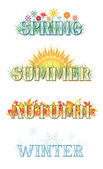 A set of four banners each representing one of the four seasons