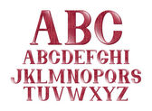 A red font set with a valentine's day themed pattern