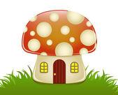 Glossy illustration of a small mushroom house