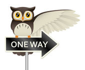 Owl On A One Way Sign