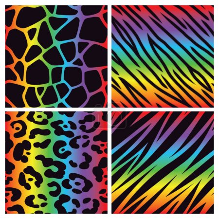 Illustration for A collection of four different rainbow colored animal print backgrounds. Seamlessly repeatable. - Royalty Free Image