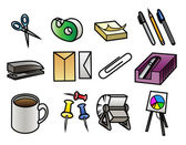 12 colorful cartoon office supply icons