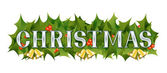 A Christmas themed banner adorned with holly leaves berries and golden bells