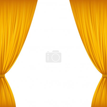 Illustration for A pair of golden drapes on white with copy space. - Royalty Free Image