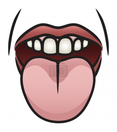 Illustration for Illustration of a cartoon mouth sticking it's tongue out. Eps 8 Vector. - Royalty Free Image