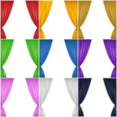 A set of nine different colored drapes (red yellow brown green blue pink black and white)