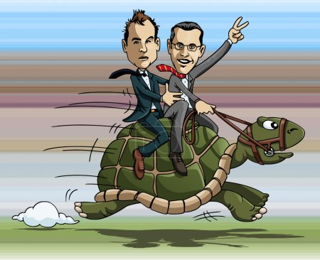 Illustration for Cartoon illustration: two businessmen riding a fast turtle - Royalty Free Image